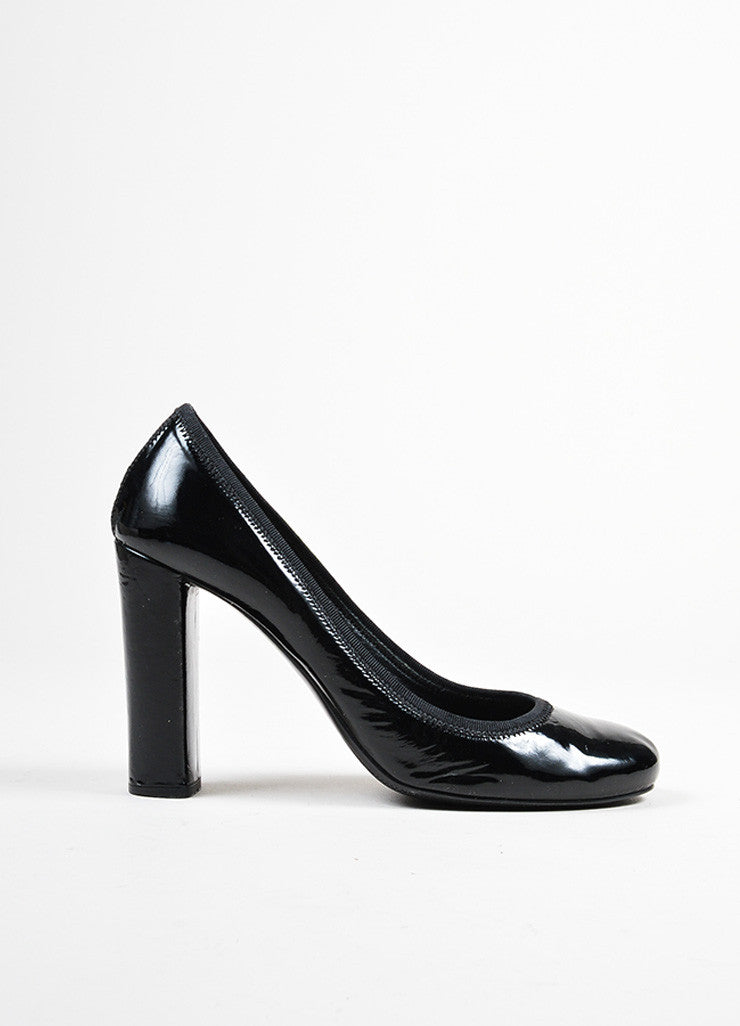 Black Prada Sport Patent Leather Square Heel Round Toe Pumps Sideview