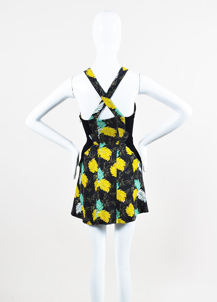 Black, Green, and Yellow Proenza Schouler Floral Print Sleeveless Mini Dress Backview
