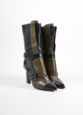 Reed Krakoff Black and Olive Green Leather Pointed Cap Toe Buckle Heeled Boots Frontview