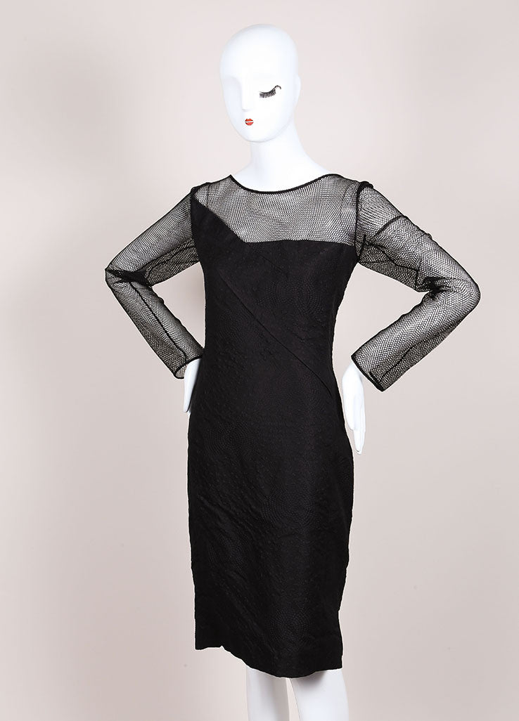 "Roland Mouret New With Tags Black Asymmetric Jacquard and Mesh ""Magnolia"" Dress Sideview"