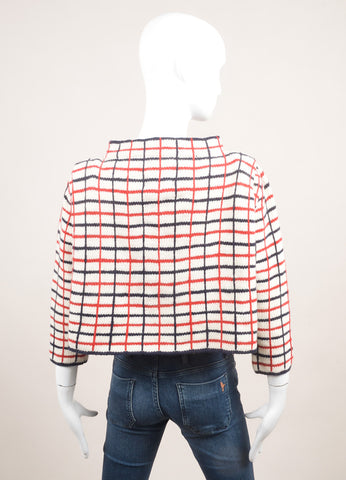 Rosie Assoulin New With Tags Cream, Navy, and Red Wool and Cashmere Checked Sweater Backview