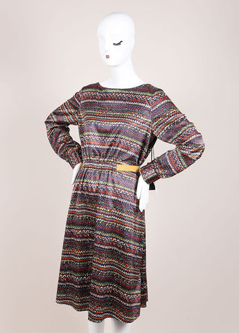 Thakoon New With Tags Navy, Brown, and White Graphic Print Cut Out Long Sleeve Dress Sideview