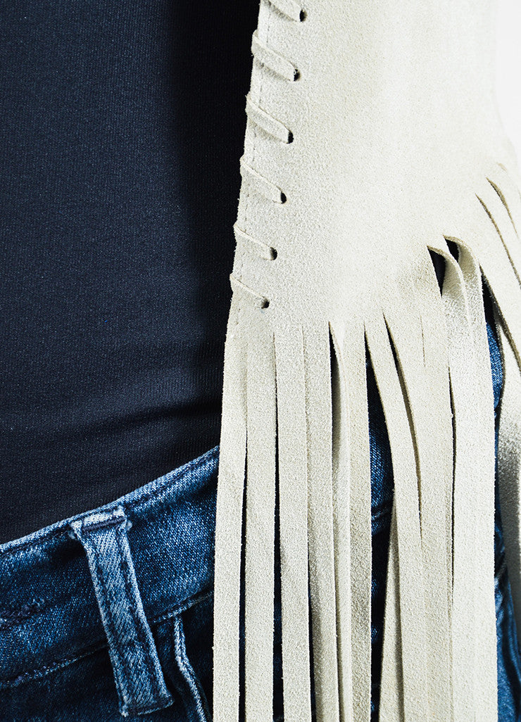 "The Perfext Beige Suede Leather Long Fringe ""Christy"" Jacket Detail"