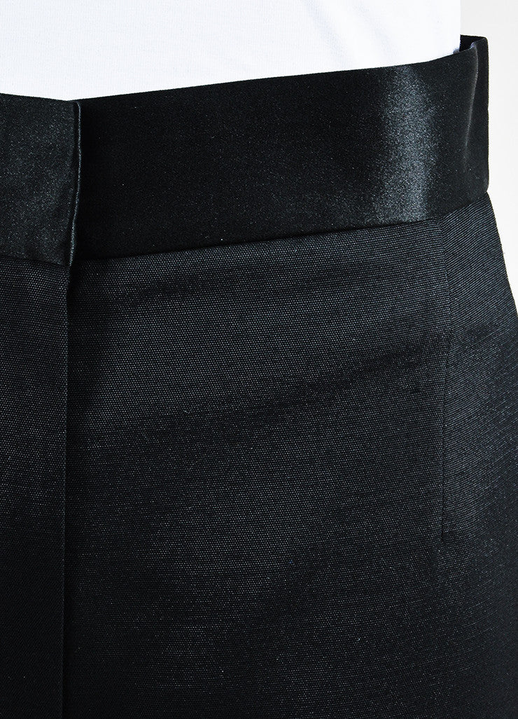 "The Row Black Wool Silk Trim High Waist Wide Leg ""Helip"" Pants Detail"