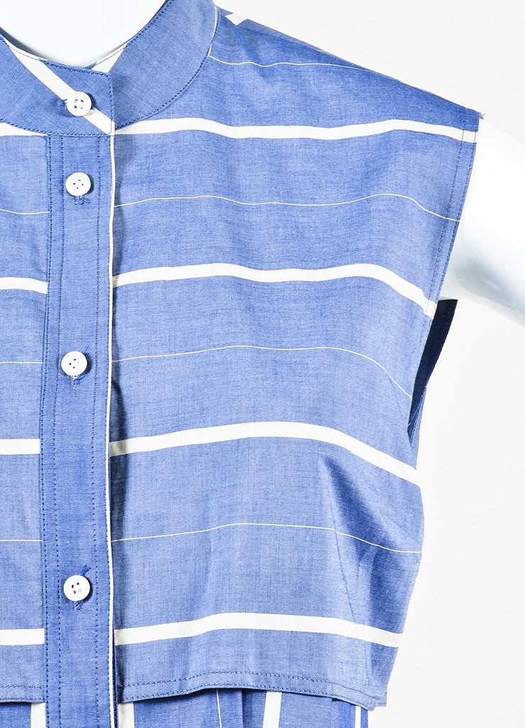 Tome Blue and White Striped Chambray Back Cut Out Sleeveless Shirt Dress Detail