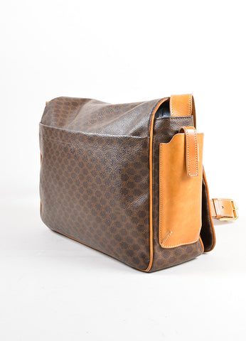 Celine Brown and Tan Coated Canvas and Leather Macadam Printed Messenger Bag Sideview