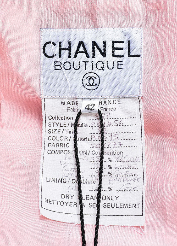 Chanel Pink and White Tweed Camellia Pinned Jacket Brand