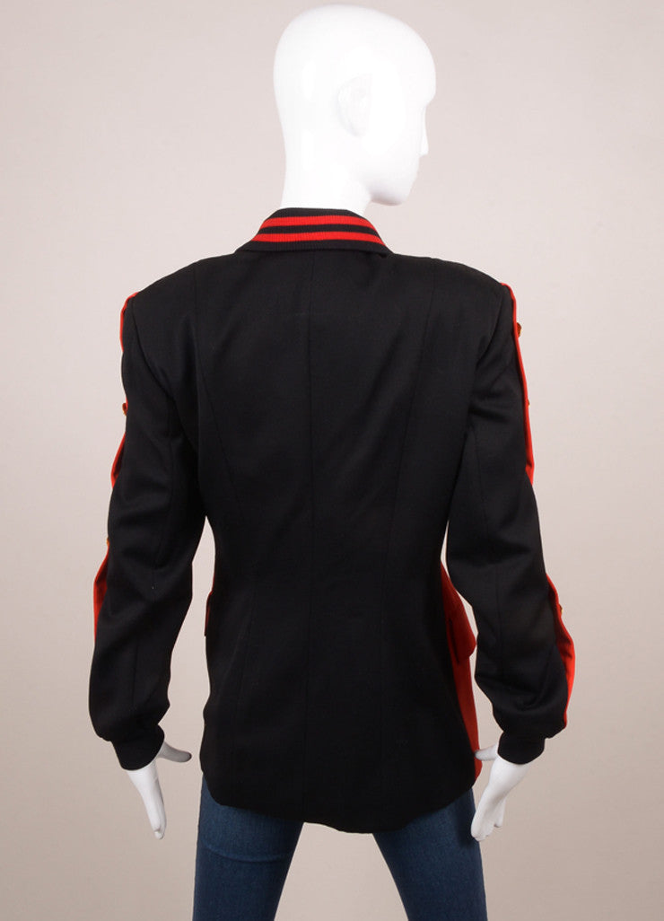 Escada Red and Black Wool Double Breasted Blazer Jacket Backview