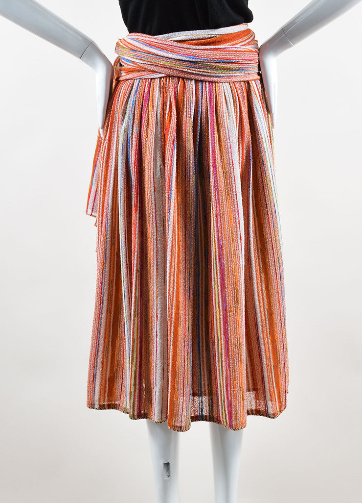 Lanvin Multicolor Striped Knit Midi Skirt With Wrap Backview