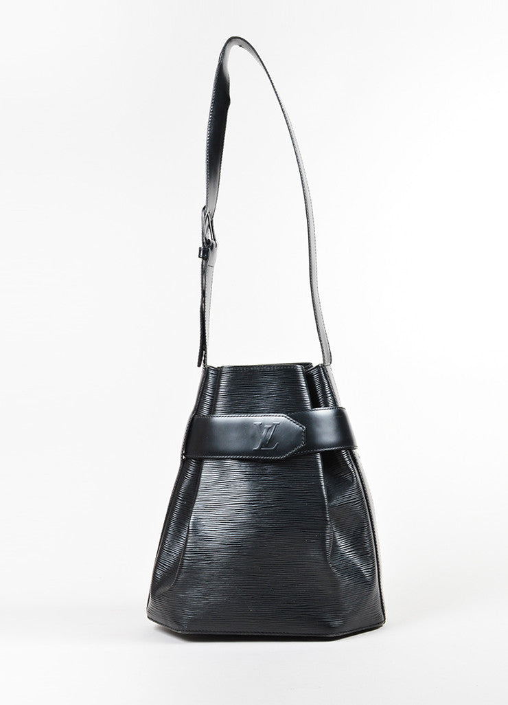 "Black Louis Vuitton Epi Leather Crossbody ""Sac D'Epaule"" Bucket Bag Frontview"