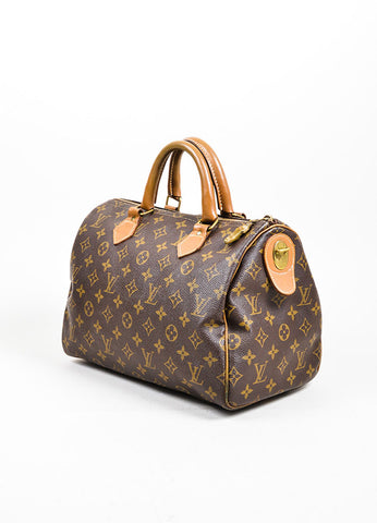"Brown Louis Vuitton x French Company ""Speedy 30"" Bag Side"