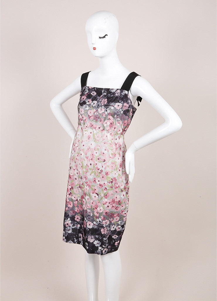 Valentino Black, Pink, and Grey Floral Print Ribbon Strap Empire Waist Sheath Dress Sideview