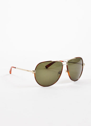 "Valentino Brown Tortoise Silver Toned ""V116S"" Aviator Sunglasses Sideview"