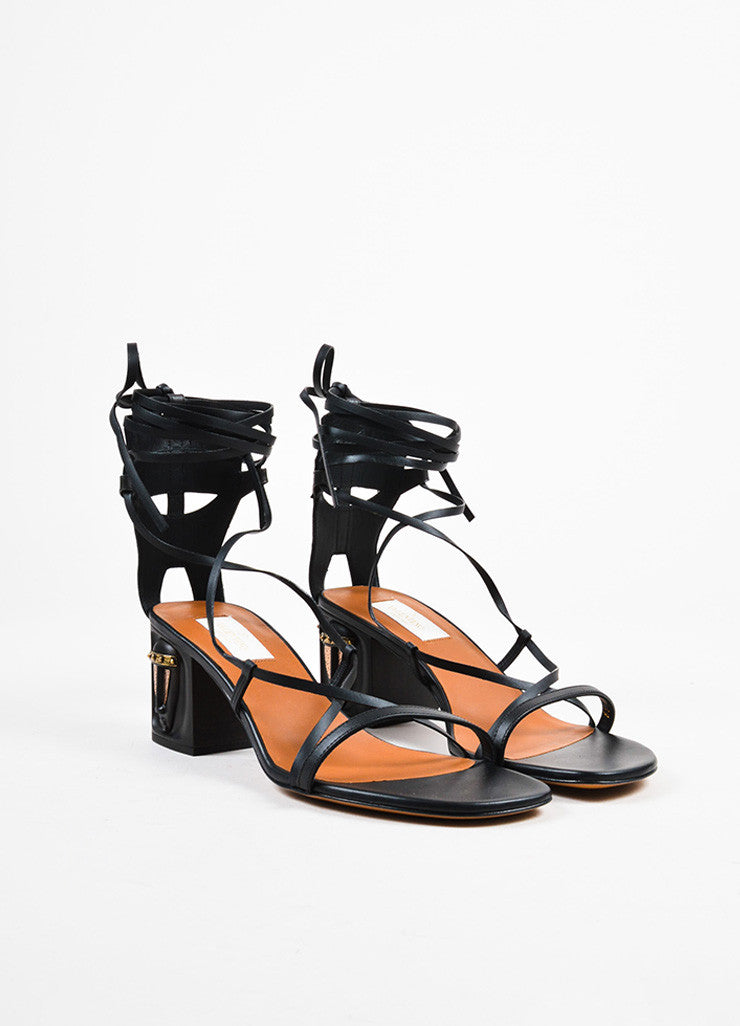"Black Valentino Leather Strappy ""Mask"" Block Gladiator Sandals Front"