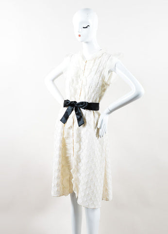 Ivory Silk Valentino Flutter Sleeve Polka Dot Overlay Shirt Dress Sideview