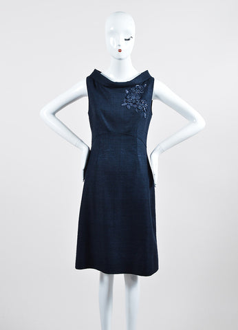 Navy Valentino Silk Knit Embroidered Embellished Sleeveless Sheath Dress Frontview