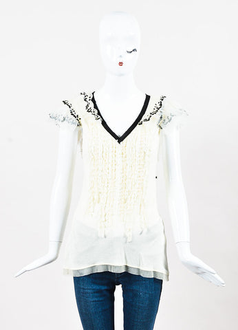 Valentino T Shirt Couture Cream and Black Sequin Ruffle Tulle Short Sleeve Top Frontview