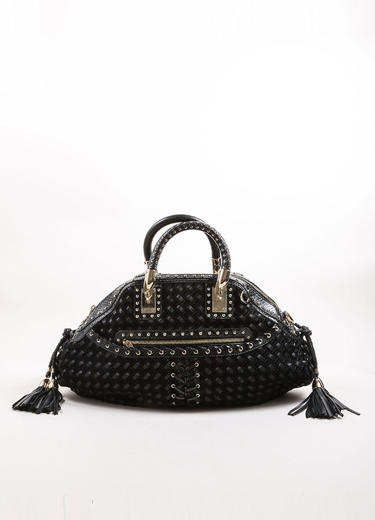 Versace Black Woven Suede, Velvet, and Snakeskin Studded Tassel Satchel Bag Frontview