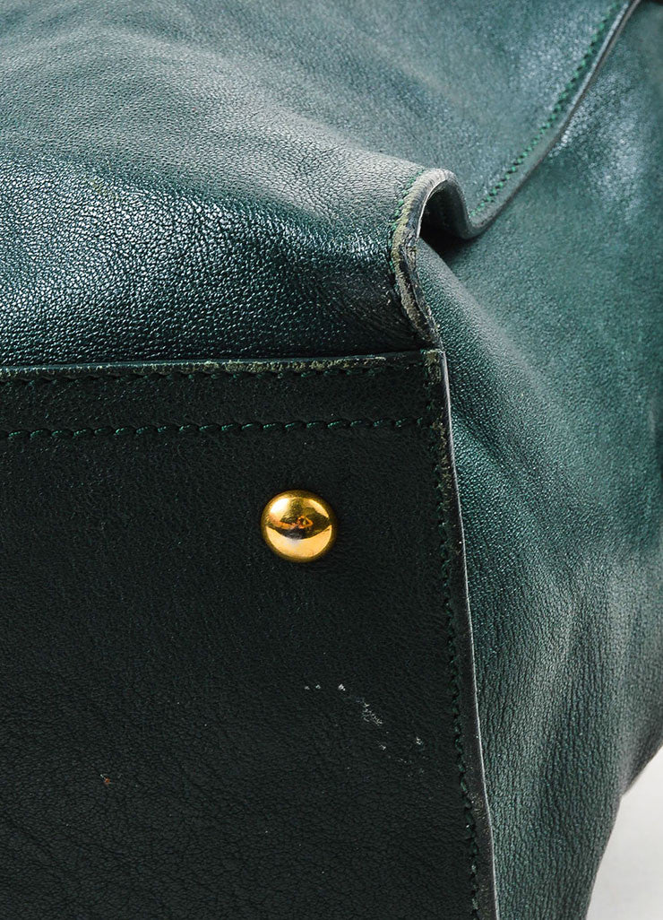 "Yves Saint Laurent Dark Green Gold Hardware ""Medium Cabas Chyc"" Bag Detail 2"