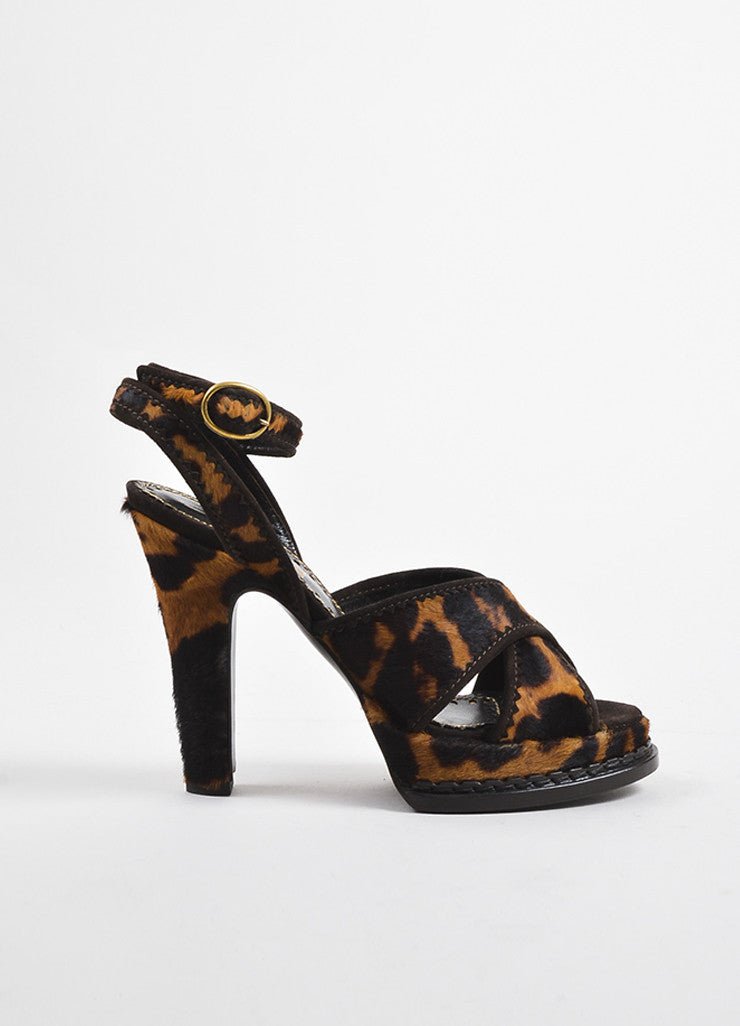 "Yves Saint Laurent  Leopard Pony Hair ""Tribute 105"" Strappy Sandals Sideview"