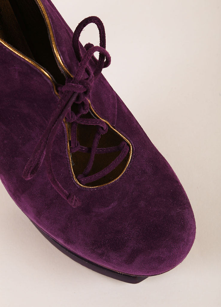 Yves Saint Laurent Purple Suede Leather Lace Up Platform Ankle Booties Detail