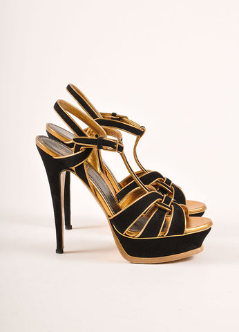 Yves Saint Laurent Black and Metallic Bronze Suede and Leather Platform Sandals Sideview