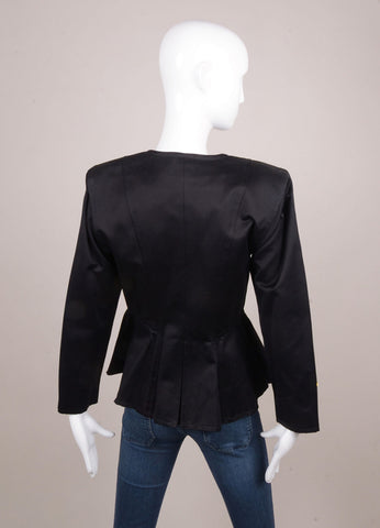 Black and Gold Large Buttoned Peplum Waist Jacket