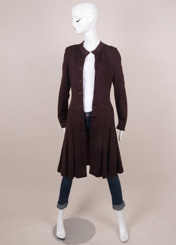 Chanel Maroon Button Front Long Sleeve Dressy Coat Frontview