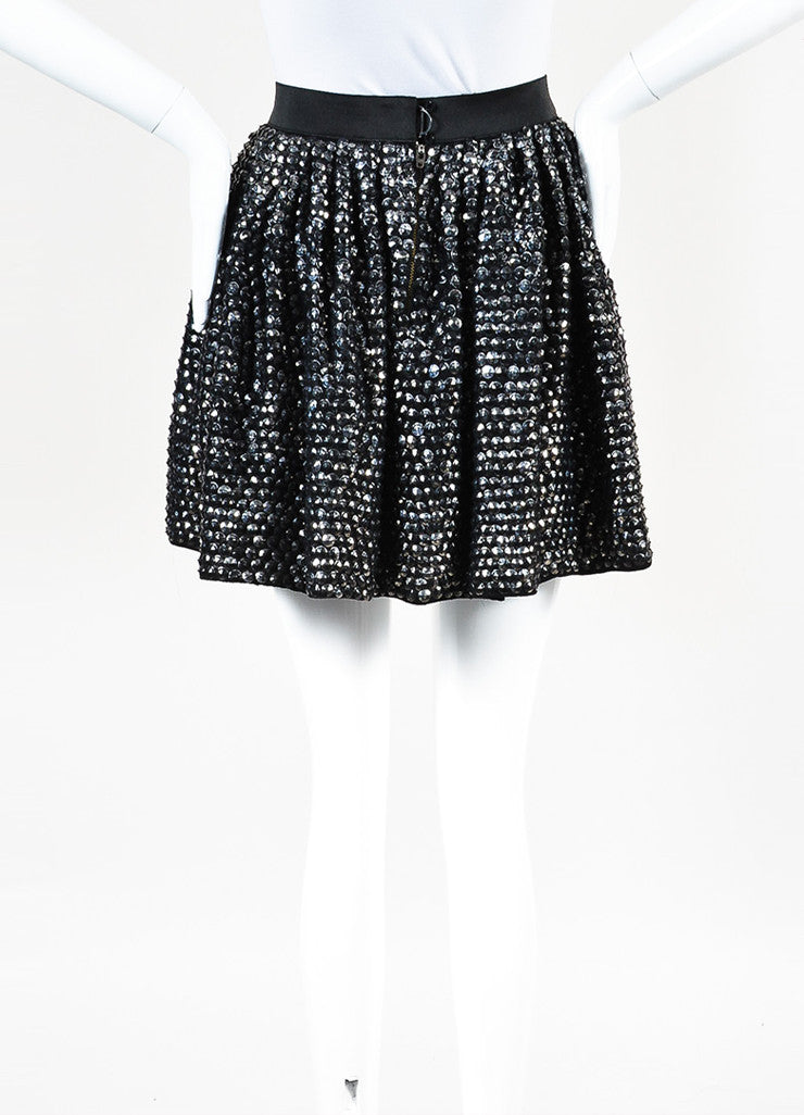 3.1 Phillip Lim Black Silver Distressed Sequin Elastic Waist Flare Skirt Backview