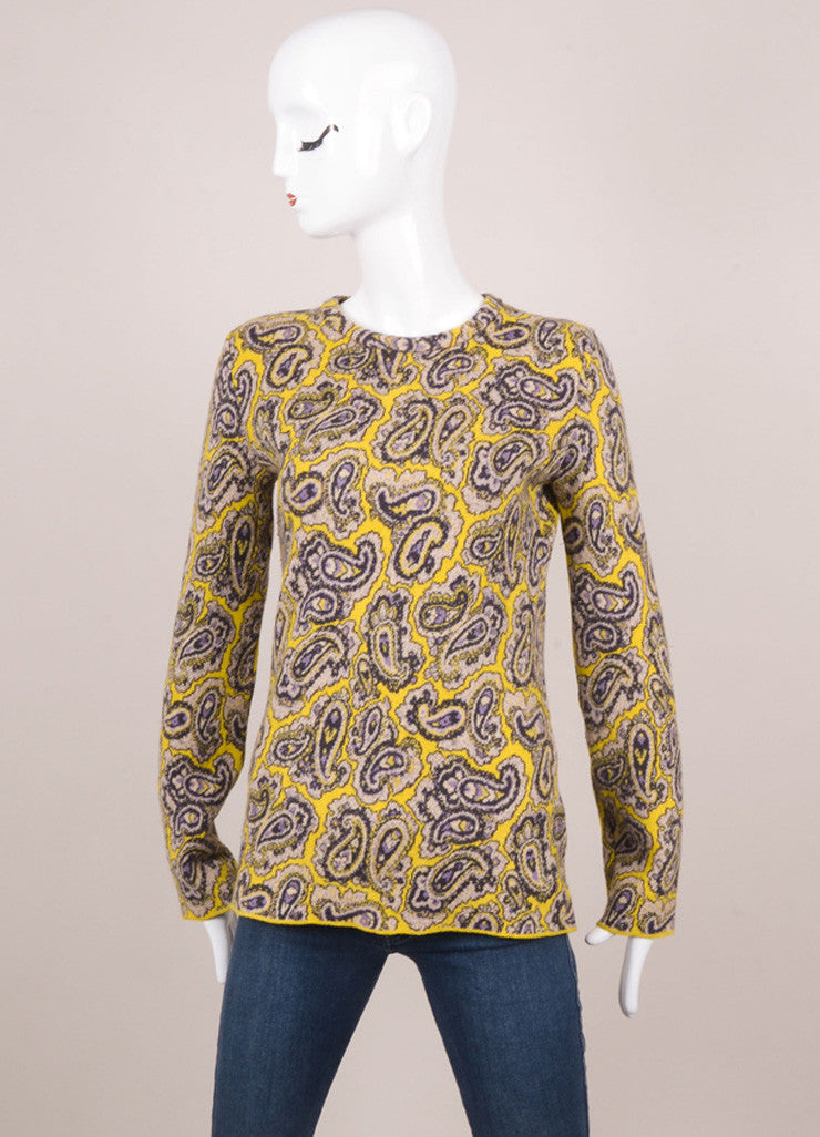 Yellow and Purple Paisley Print Long Sleeve Wool Blend Sweater