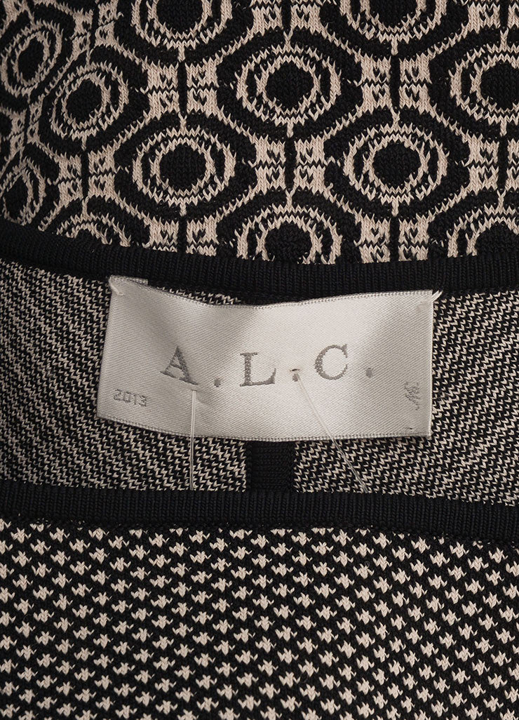 A.L.C. New With Tags Black and White Stretch Knit Multi Pattern Bodycon Dress Brand