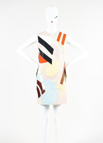 "Acne Studios Multicolor Leather Suede Patchwork ""Helima"" Dress Frontview"