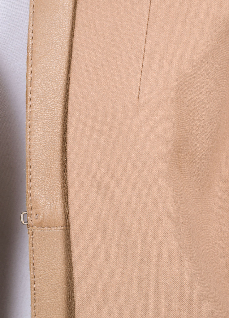 Akris New With Tags Tan Knit Leather Trim Long Sleeve Blazer Detail