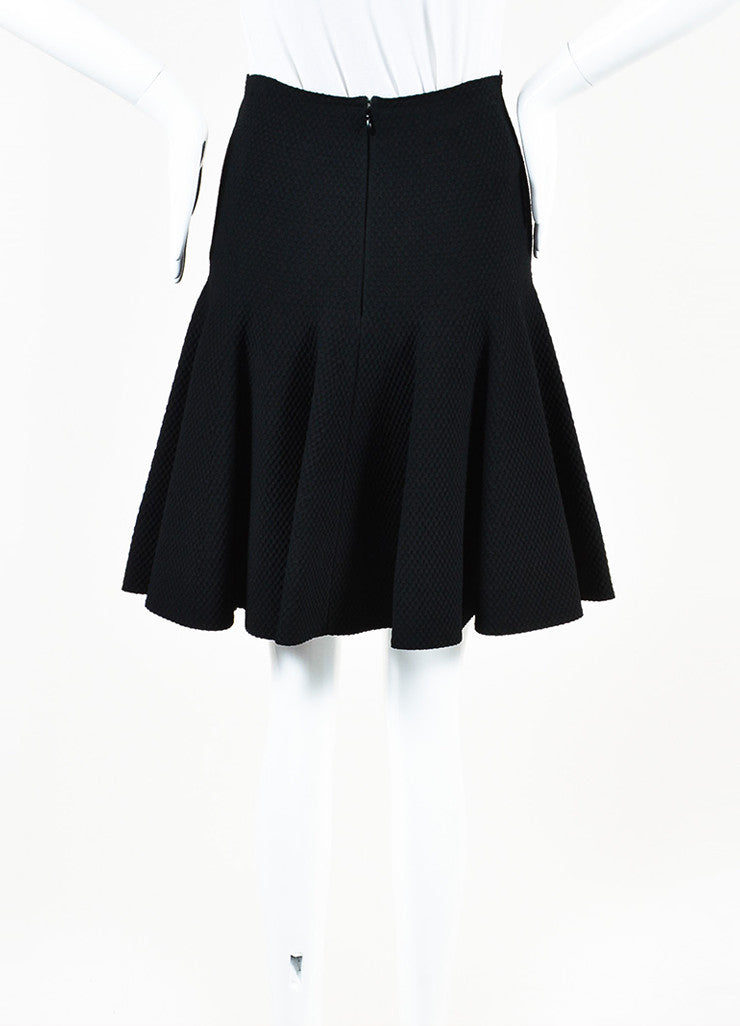Alaia Black Knit Matelasse Flared Skirt Backview