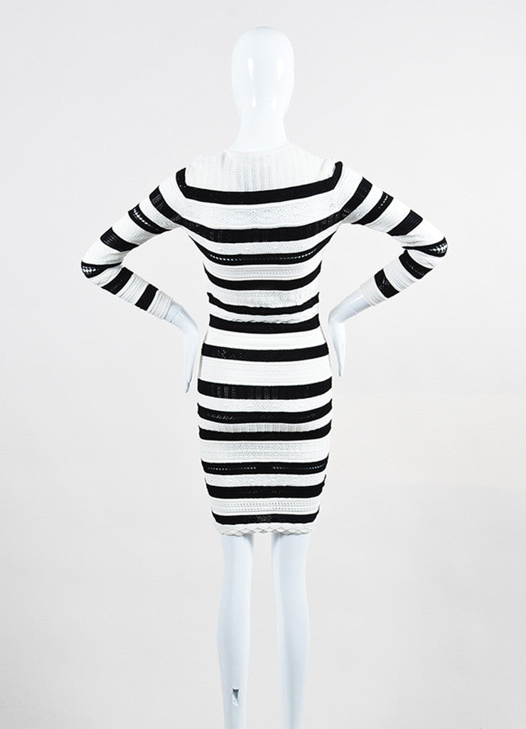 Black and White Alexander McQueen Striped Sweater Dress Back