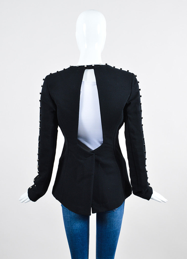 "Black Alexander Wang Wool Blend Studded Backless ""Rivet"" Blazer Backview"