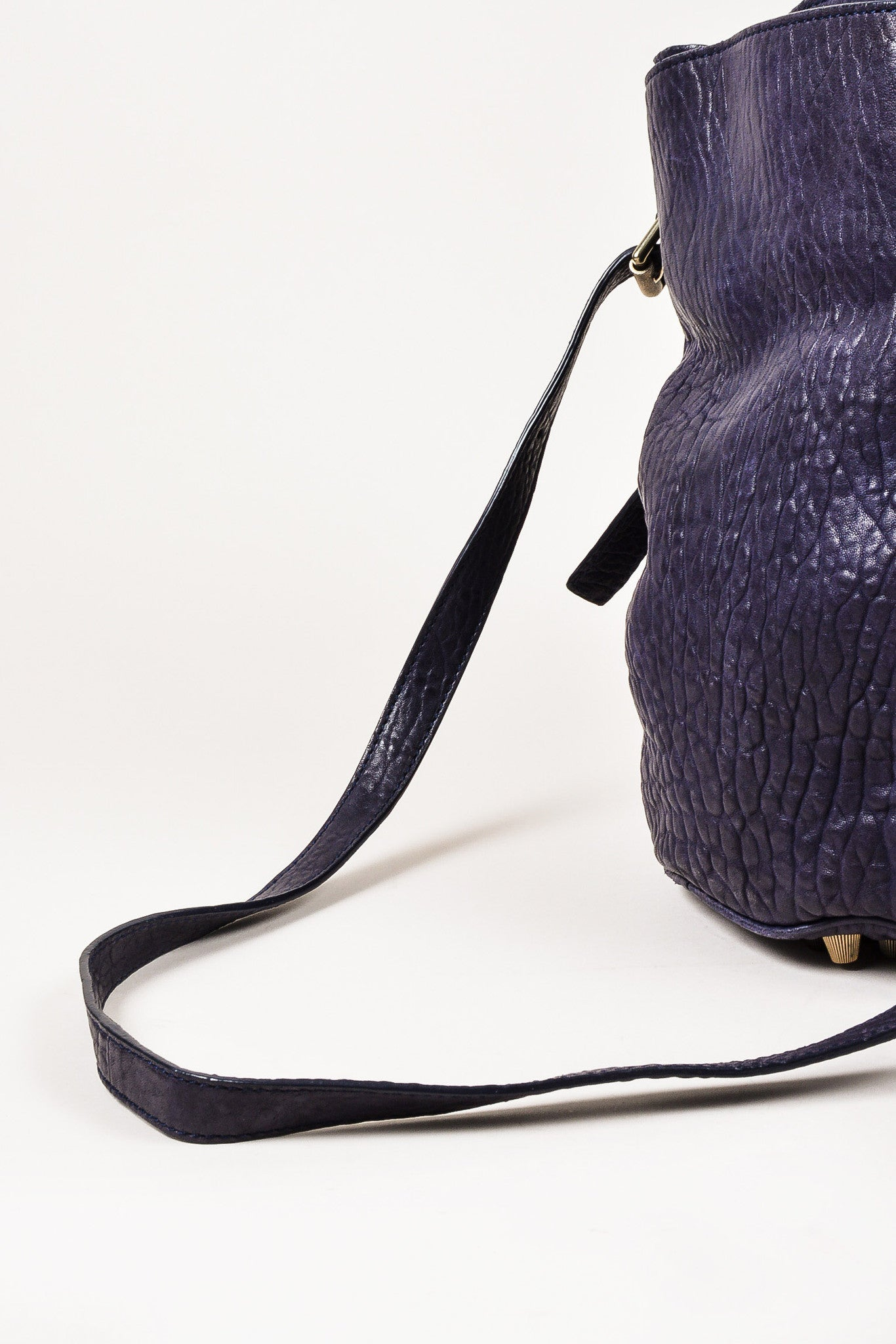 "Alexander Wang Dark Purple Pebbled Leather Brass Stud ""Diego"" Bucket Bag Detail 2"