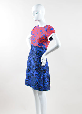 Andrew Gn Blue and Red Woven Mattelasse Pleated Dress Sideview