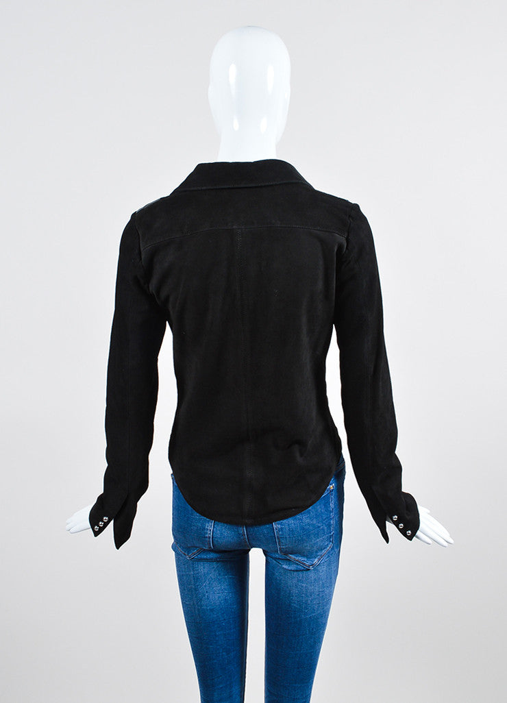 Black Anthony Vaccarello Suede Leather Star Patch Deep V Long Sleeve Top Backview