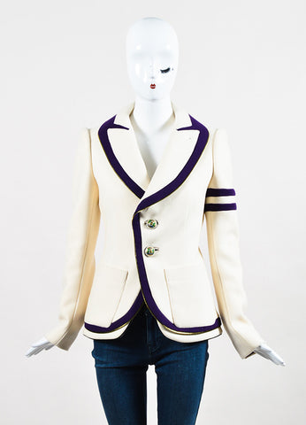 Balenciaga Cream and Purple Wool Blend Zip Trim Structured Jacket Frontview 2