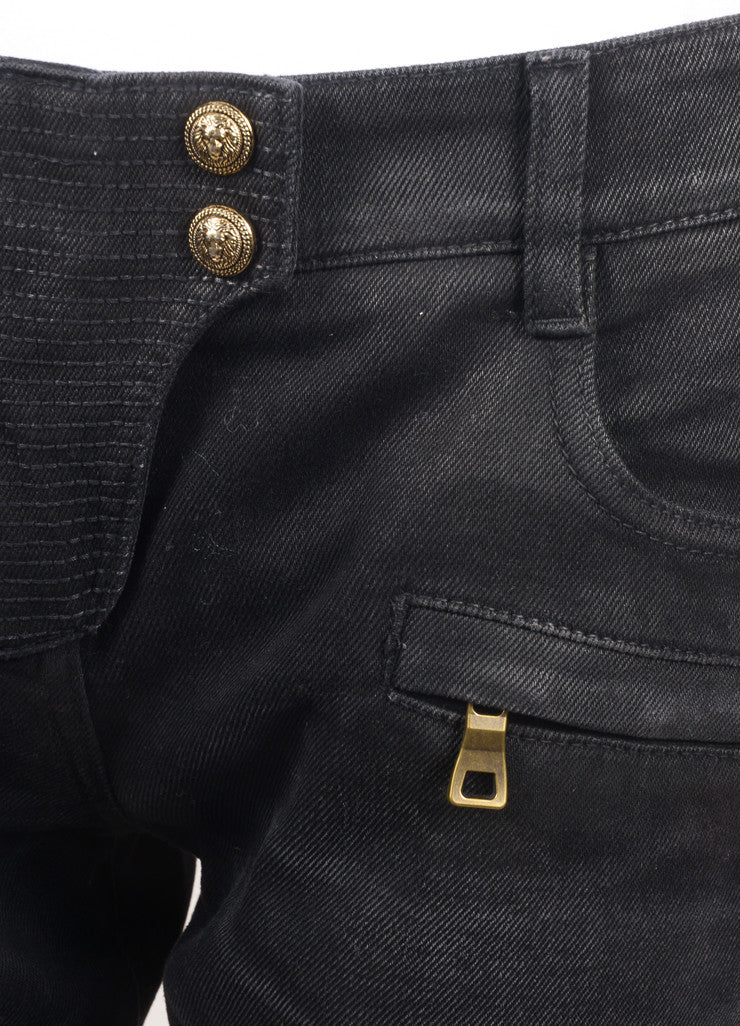 Balmain New With Tags Black Washed Stretch Cotton Quilted Moto Biker Pants Detail