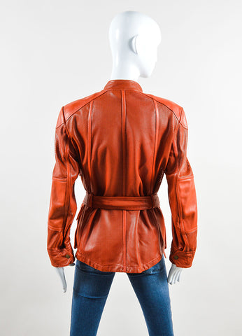 Belstaff Rust Red Leather Perforated Belted Mid Length Long Sleeve Safari Jacket Back