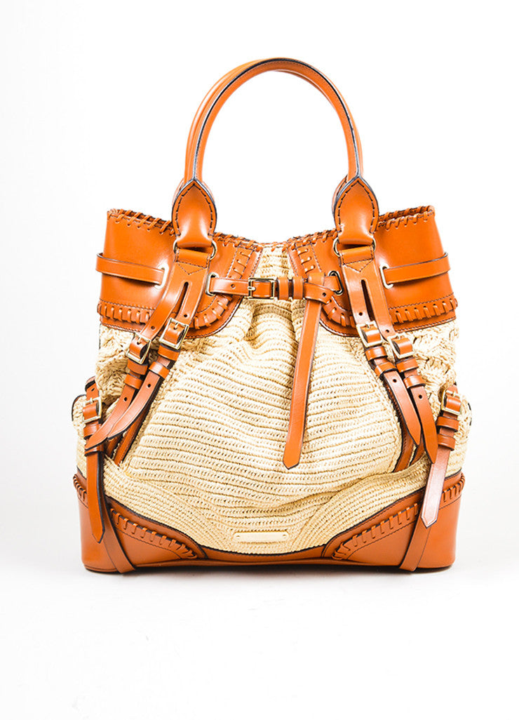 Cognac Brown Burberry Prorsum Leather Raffia Satchel Tote Bag Frontview