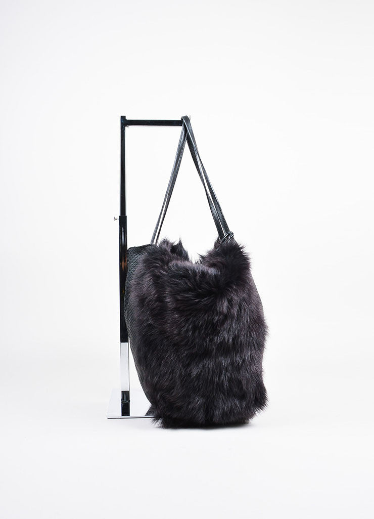 "Carlos Falchi Black Python Leather Fur Hobo ""Bell"" Tote Bag Sideview"
