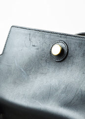 "Black and Grey Wool and Felt Top Handle Celine ""Belt"" Flap Bag Detail 4"