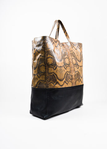 "Celine Brown and Black Snakeskin Embossed Leather ""Vertical Bi-Cabas"" Tote Bag Sideview"