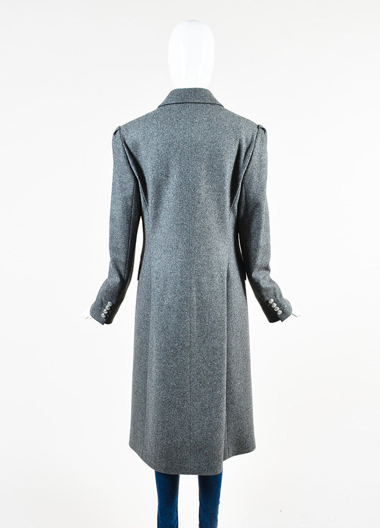 Celine Grey Wool and Cashmere Jewel Cluster Button Double Breasted Coat Backview