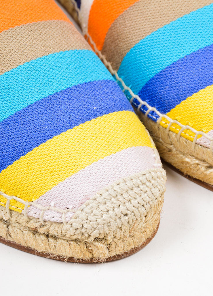 Multicolor Celine Canvas Striped Flat Espadrille Slipper Loafers Detail