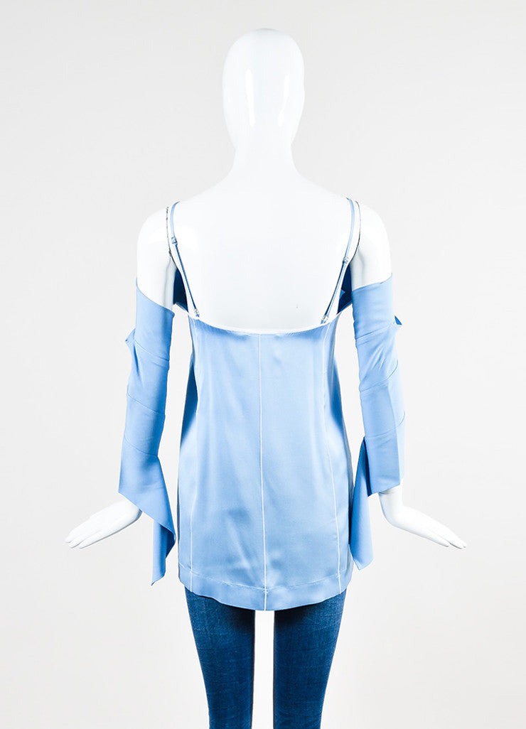 Celine Light Blue and White Silk Striped Cutout Shoulder Long Sleeve Top Backview