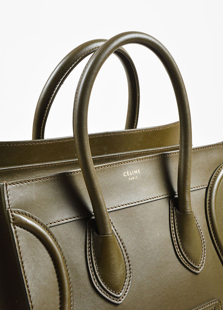 "Celine Olive Green Leather ""Mini Luggage Tote"" Bag detail 2"
